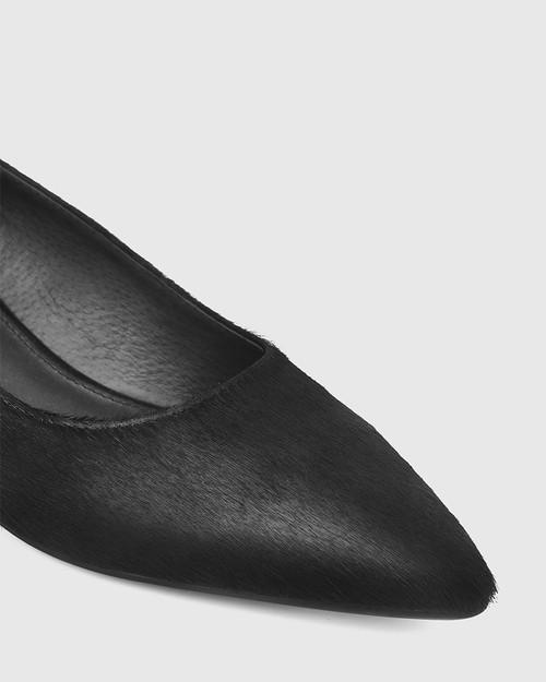 Armin Black Hair-on Leather Pointed Toe Block Heel