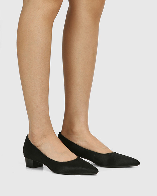 Armin Black Hair-on Leather Pointed Toe Block Heel & Wittner & Wittner Shoes