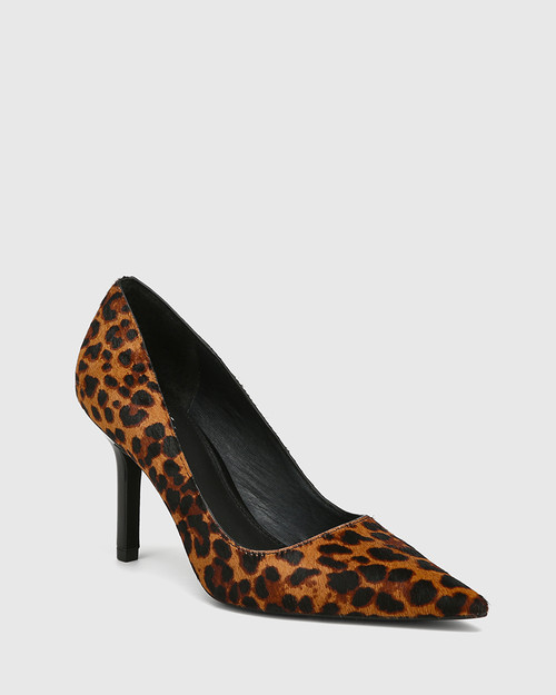 Quendra Leopard Hair-on Leather Pointed Toe Pump