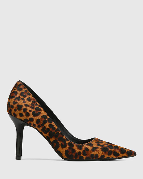 Quendra Leopard Hair-on Leather Pointed Toe Pump & Wittner & Wittner Shoes