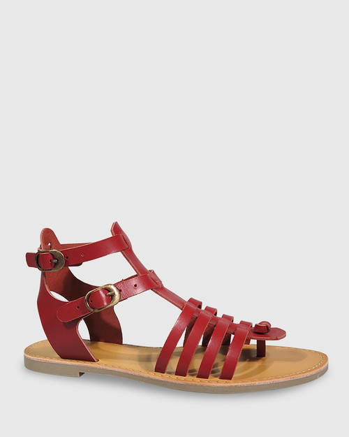 Capucina Chilli Red Leather Flat Sandal. & Wittner & Wittner Shoes