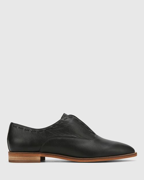 Edyth Black Leather Slip On Brogue. & Wittner & Wittner Shoes