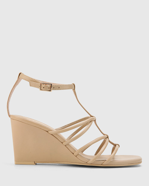 Carra Ecru Leather Open Toe Wedge Sandal. & Wittner & Wittner Shoes