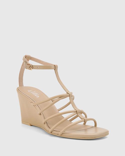 Carra Ecru Leather Open Toe Wedge Sandal.