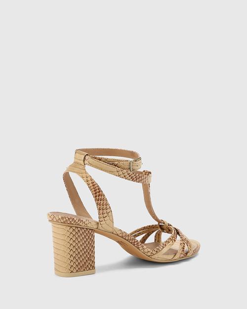 Nia Beige Python Print Leather Open Toe Block Heel Sandal. & Wittner & Wittner Shoes