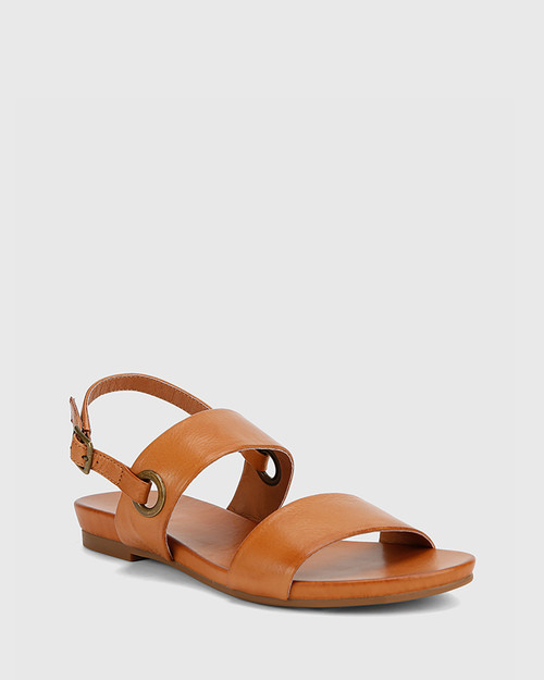 Lita Coconut Scotch Leather Open Toe Flat Sandal.