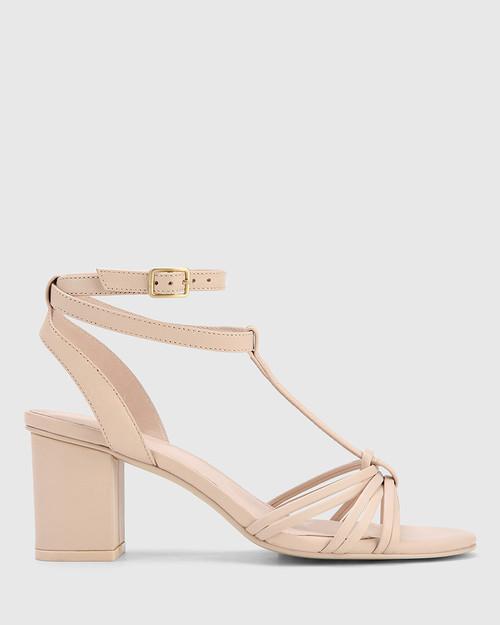 Nia Powder Pink Leather Open Toe Block Heel Sandal. & Wittner & Wittner Shoes