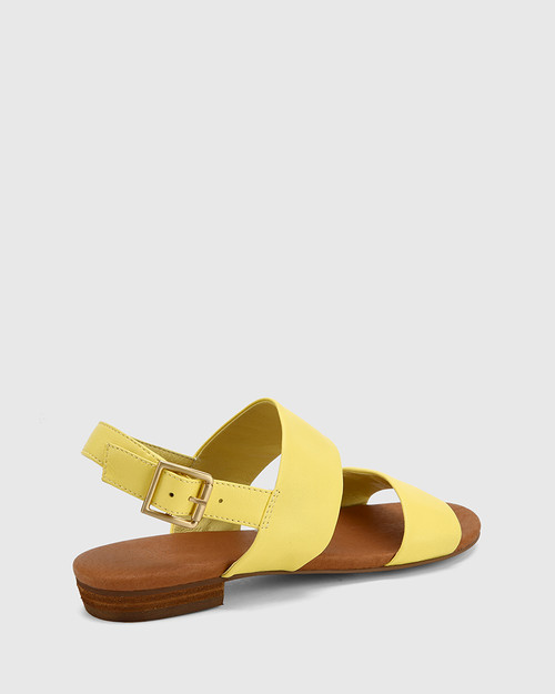 Sistine Sunshine Yellow Leather Flat Sandal. & Wittner & Wittner Shoes