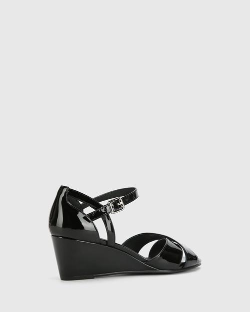 Audrina Black Patent Leather Open Toe Wedge Heel. & Wittner & Wittner Shoes