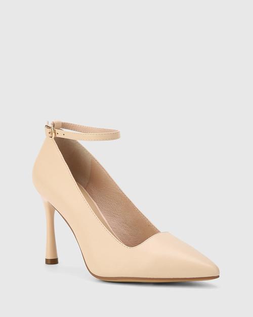 Halba Pearl Leather Ankle Strap Stiletto Pump.