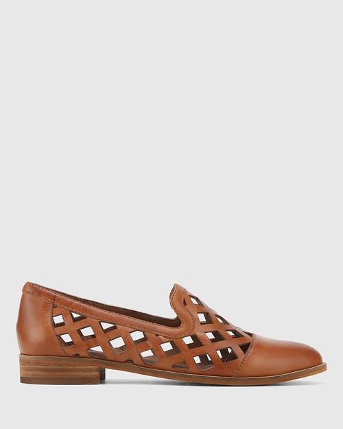 Heeva Dark Cognac Nappa Leather Almond Toe Flat. & Wittner & Wittner Shoes