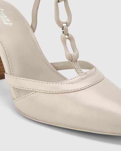 Petrona Fog Grey Leather Block Heel Ankle Strap Pump. & Wittner & Wittner Shoes