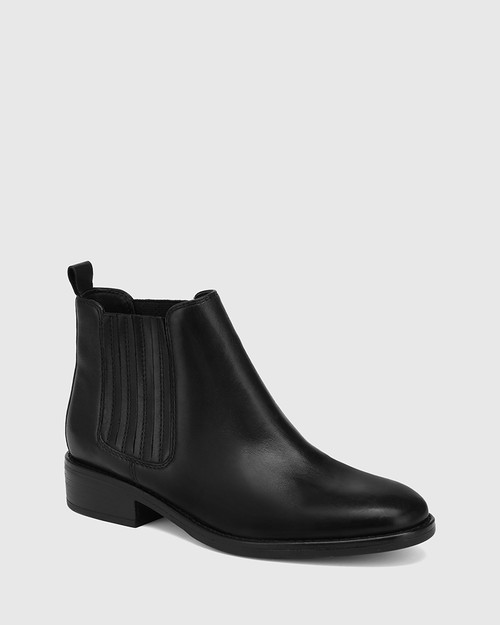 Sheppard Black Leather Ankle Boot