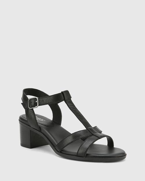 Kendally Black Leather Open Toe Block Heel Sandal.