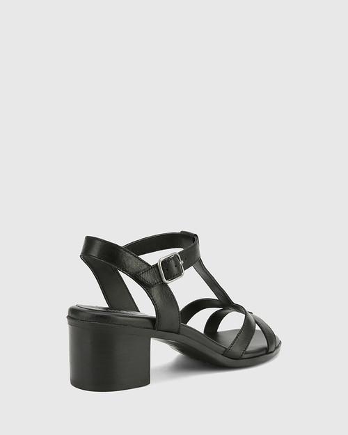 Kendally Black Leather Open Toe Block Heel Sandal. & Wittner & Wittner Shoes