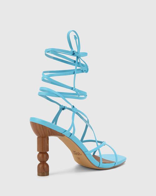 Rikita Aqua Blue Leather Sculptured Heel Strappy Sandal. & Wittner & Wittner Shoes