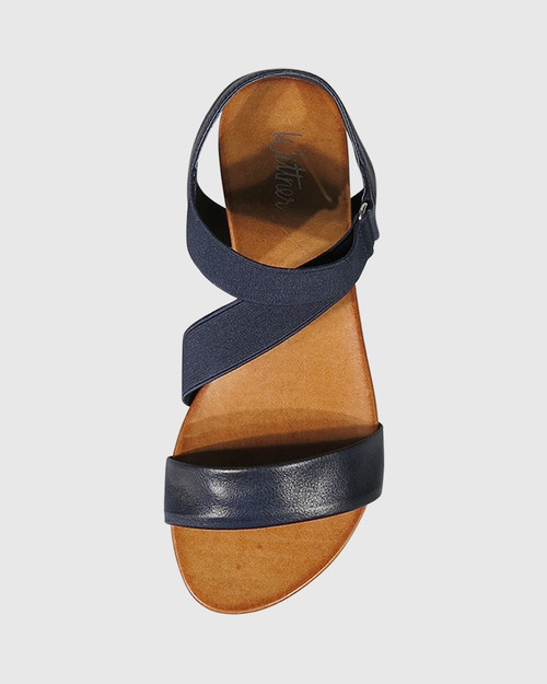 Lyla Navy Leather & Elastic Flat Sandal. & Wittner & Wittner Shoes