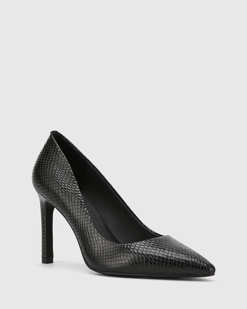 Hermina Black Mini Snake Print Leather Pointed Toe Stiletto.