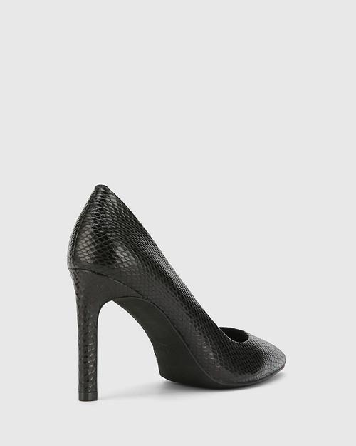 Hermina Black Mini Snake Print Leather Pointed Toe Stiletto. & Wittner & Wittner Shoes