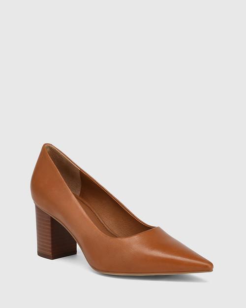 Penrose Dark Cognac Leather Block Heel Pump