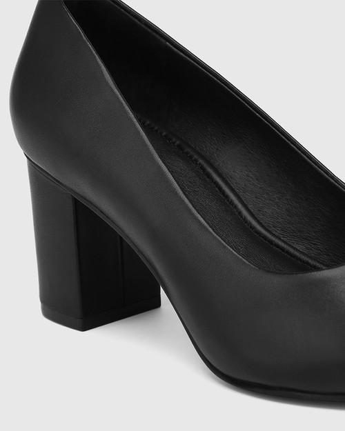 Penrose Black Leather Block Heel Pump & Wittner & Wittner Shoes