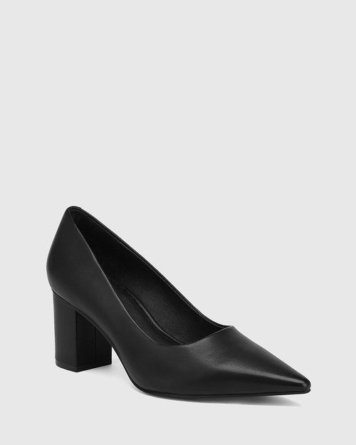 Penrose Black Leather Block Heel Pump
