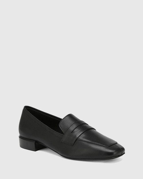August Black Leather Square Toe Loafer