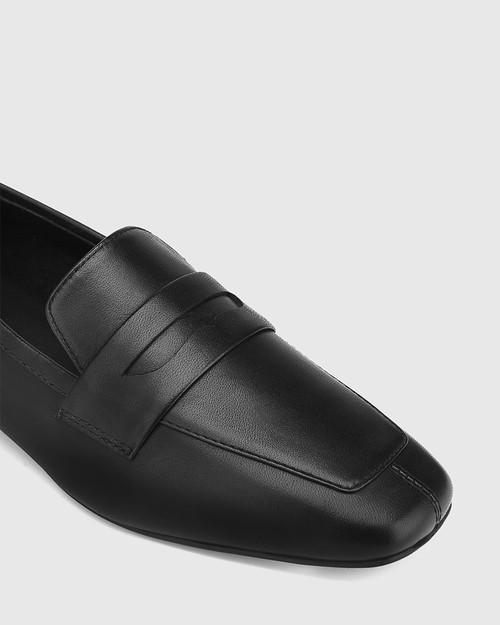 August Black Leather Square Toe Loafer & Wittner & Wittner Shoes