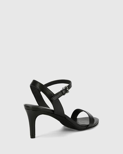 Nyra Black Nappa Leather Kitten Heel Sandal. & Wittner & Wittner Shoes