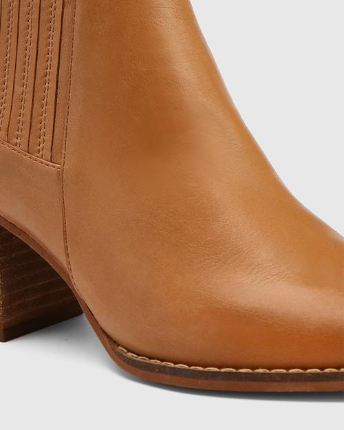 Kole Coconut Leather Block Heel Ankle Boot & Wittner & Wittner Shoes
