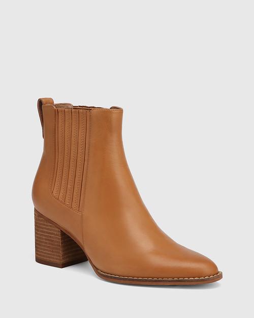Kole Coconut Leather Block Heel Ankle Boot