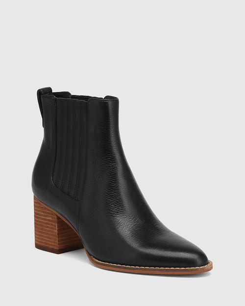 Kole Black Leather Block Heel Ankle Boot