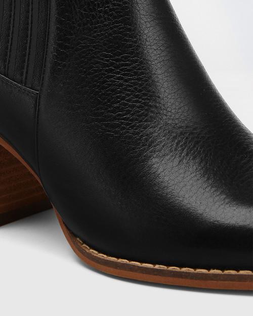 Kole Black Leather Block Heel Ankle Boot & Wittner & Wittner Shoes