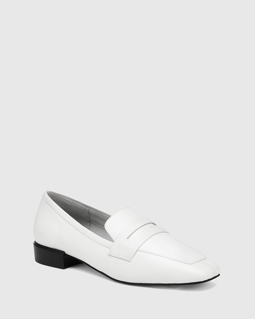 August White Leather Square Toe Loafer