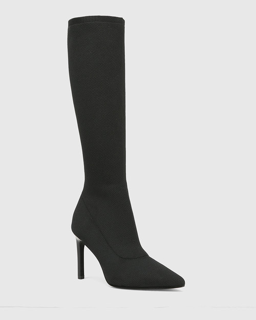 Hada Black Recycled Knit Stiletto Heel Long Boot
