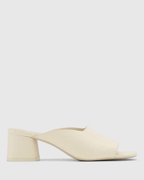 Dayana Buttercream Leather Open Toe Block Heel Mule. & Wittner & Wittner Shoes