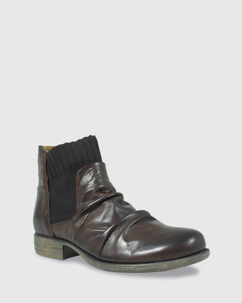 Demitri Chestnut Leather Stretch Round Toe Ankle Boot. & Wittner & Wittner Shoes