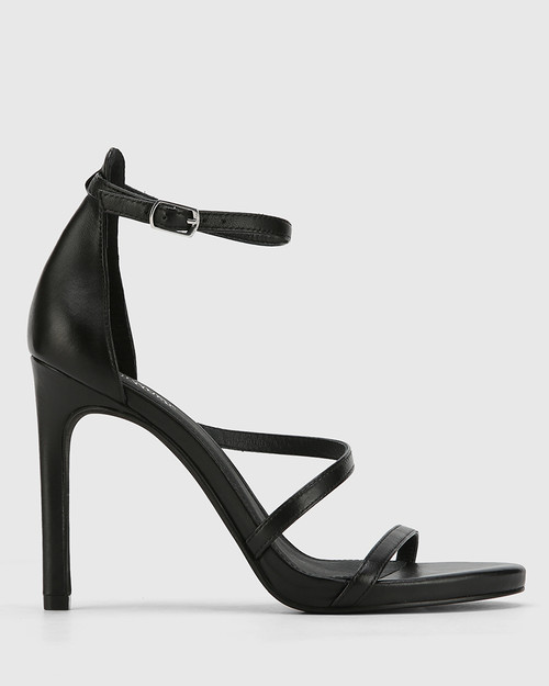 Veronika Black Leather Open Toe Stiletto Heel. & Wittner & Wittner Shoes