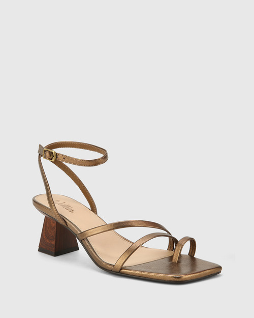 Kaiya Bronze Leather Strappy Sculptured Heel Sandal.