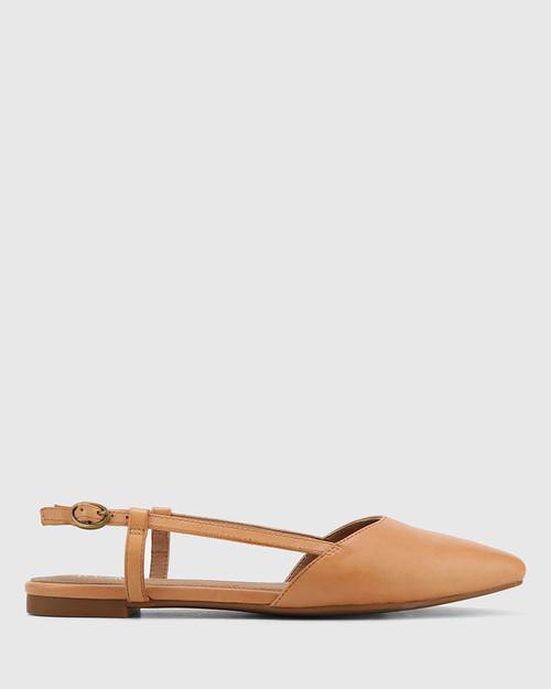 Edelpha Tan Leather Flat Slingback Sandal. & Wittner & Wittner Shoes