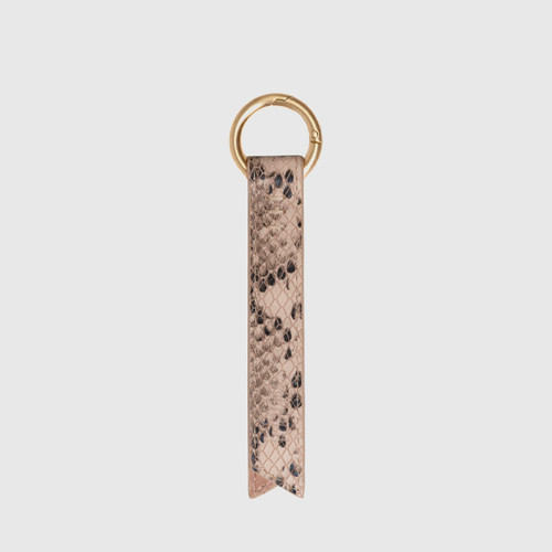 Libbie Powder Pink Snake Print Leather Keyring