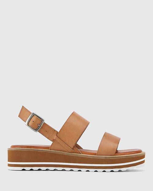 Tana Tan Leather Slingback Flatform Sandal