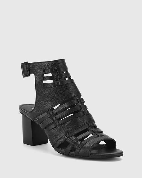 Nicolae Black Leather Open Toe Block Heel.