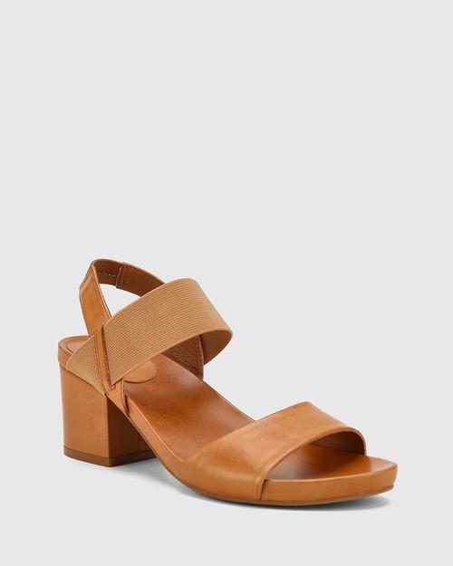Maddox Tan Leather Open Toe Block Heel Sandal.