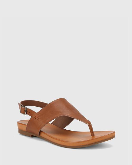 Lawrence Dark Cognac Leather Open Toe Flat Sandal.