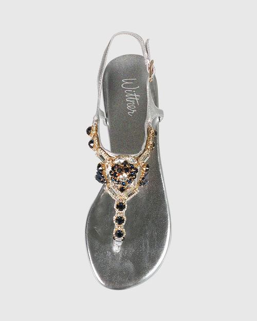 Sparkla Silver Leather Jewel Detail Flat Sandal. & Wittner & Wittner Shoes