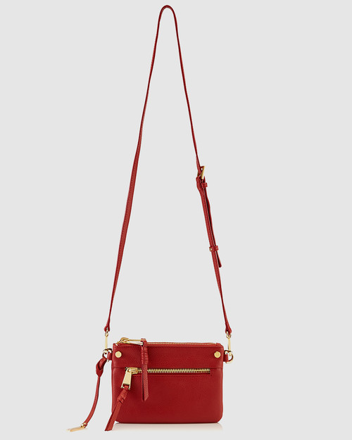 Benjamine Red Leather Magnetic Detachable Cross Body Bag