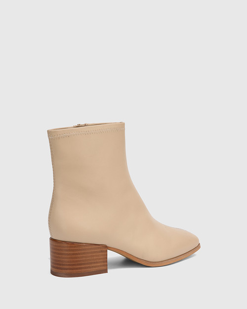 Olyvier Ecru Leather Soft Leather Ankle Boot. & Wittner & Wittner Shoes