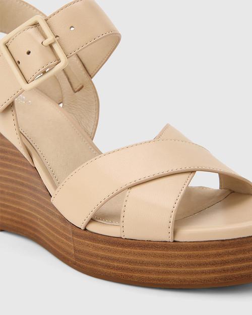 Vivia Ecru Leather Crossed Strap Open Toe Wedge. & Wittner & Wittner Shoes