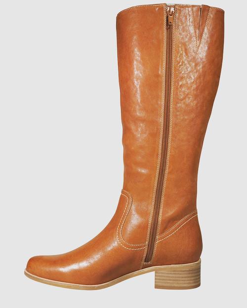 Graham Cognac Leather Block Heel Knee High Boot.